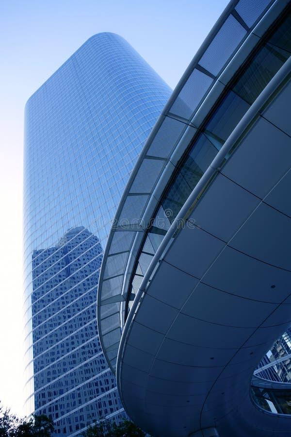 Ville bleue de gratte-ciel de constructions de Houston le Texas image stock