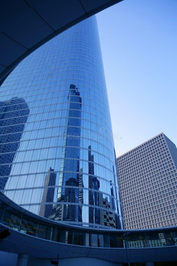 Ville bleue de gratte-ciel de constructions de Houston le Texas photographie stock libre de droits