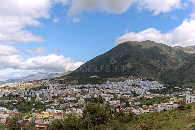 Ville bleue de vue aérienne belle de Chefchaouen, Maroc, Afrique photos libres de droits