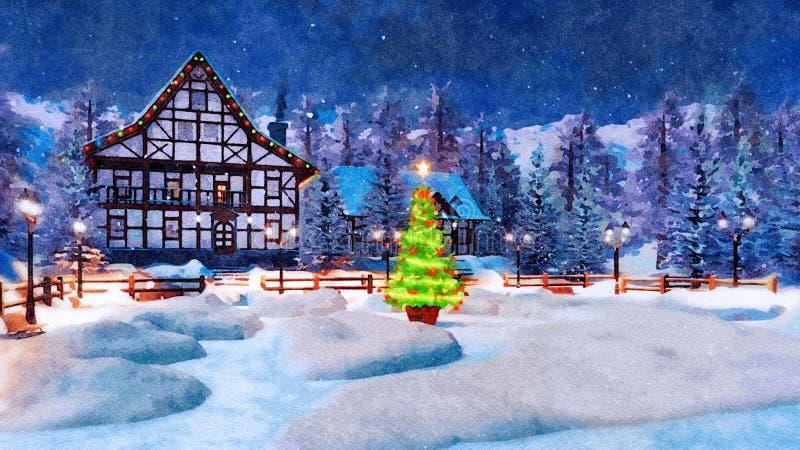 Ville bloquée par la neige la nuit Noël dans l'aquarelle images libres de droits
