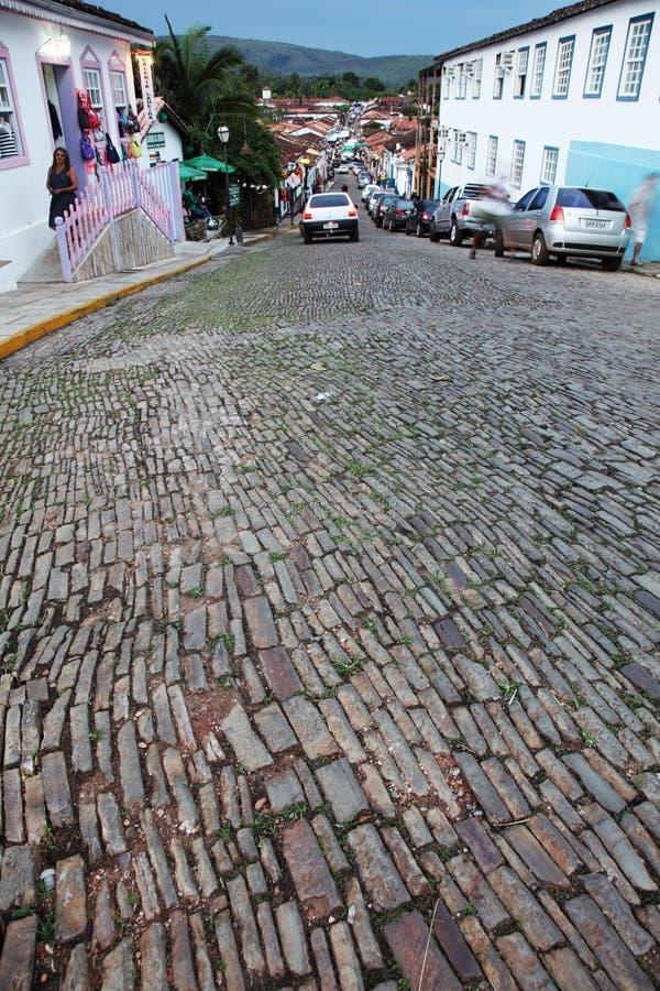 Ville Brésil de Pirenopolis de route de pavé rond photo stock