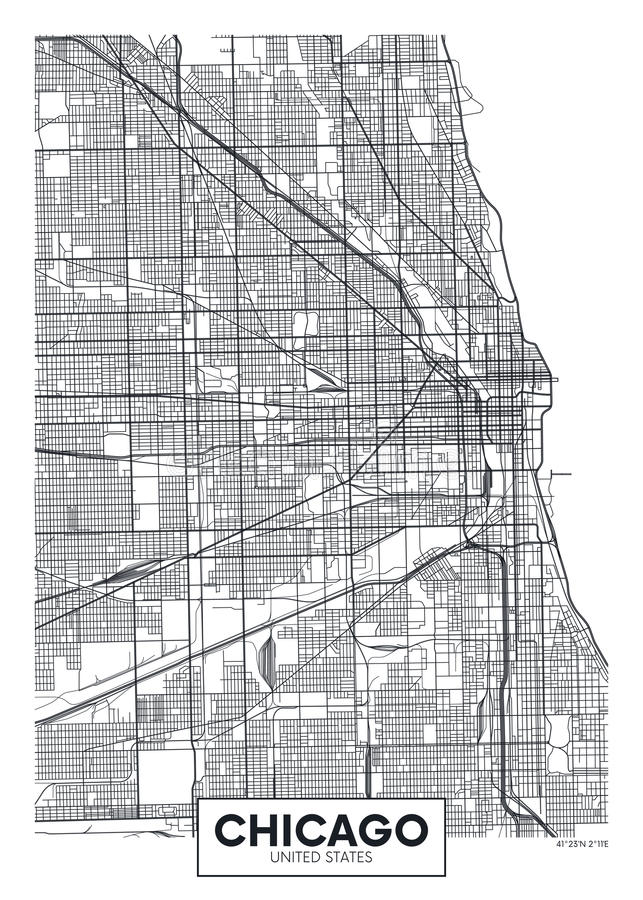 Ville Chicago de carte d'affiche de vecteur illustration de vecteur