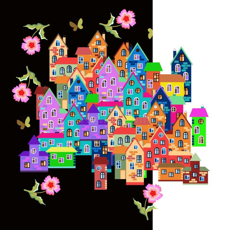Ville colorée lumineuse avec des fleurs sur le fond de nuit et de jour illustration libre de droits