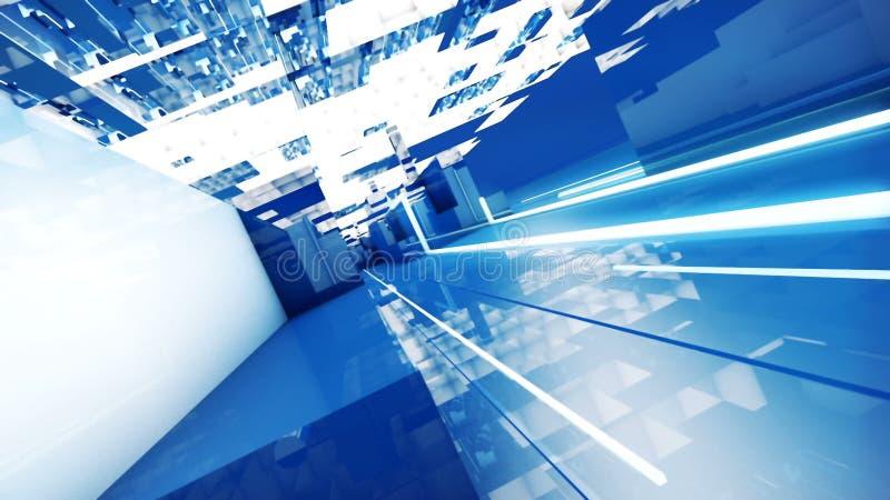Ville cybernétique avec les bâtiments futuristes abstraits illustration libre de droits