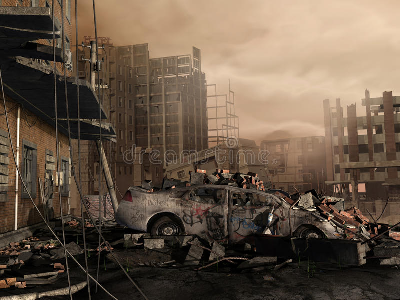Ville détruite illustration libre de droits