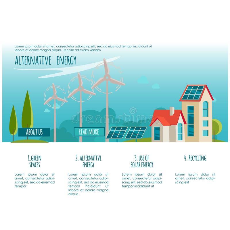 Ville d'écologie Énergie de substitution Solaire, énergie éolienne Concept de page Web illustration libre de droits