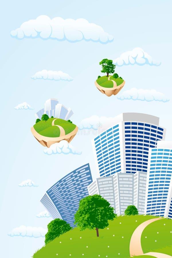 Ville d'affaires dans le ciel illustration libre de droits