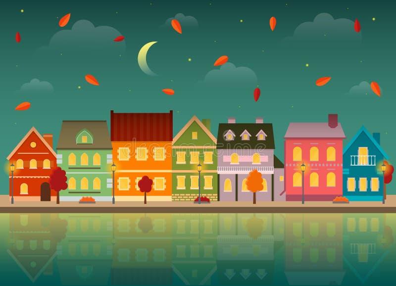 Ville d'automne la nuit avec la réflexion dans l'eau illustration libre de droits