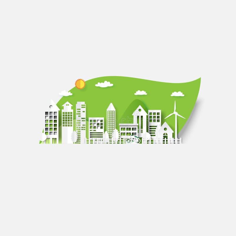 Ville d'Eco sur le fond vert de feuille illustration stock