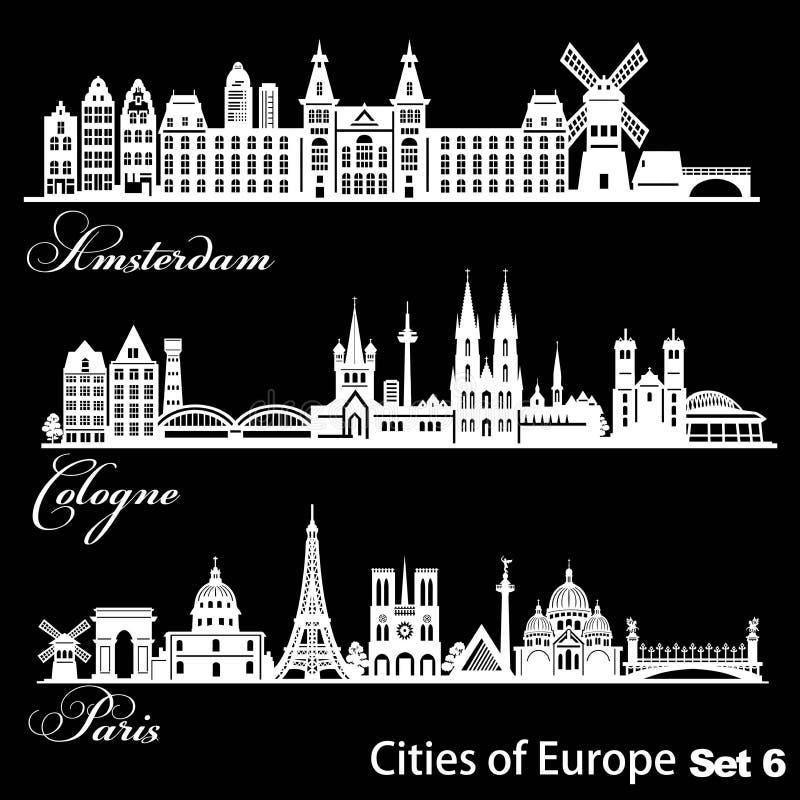 Ville d'Europe - Amsterdam, Cologne, Paris Architecture détaillée Illustration vectorielle tendance illustration de vecteur
