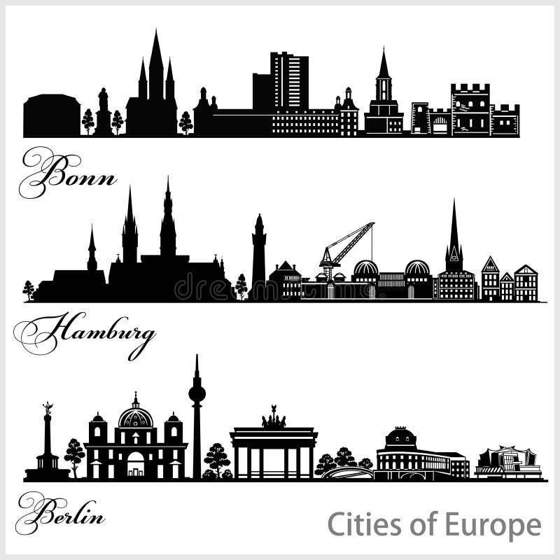 Ville d'Europe - Bonn, Hambourg, Berlin Architecture détaillée Illustration vectorielle tendance illustration stock