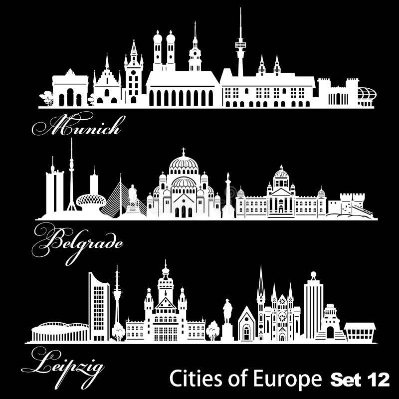 Ville d'Europe - Munich, Belgrade, Leipzig Architecture détaillée Illustration vectorielle tendance illustration de vecteur