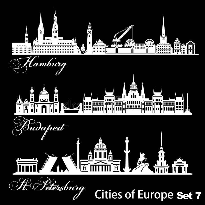 Ville d'Europe - Saint-Pétersbourg, Budapest, Hambourg Architecture détaillée Illustration vectorielle tendance illustration libre de droits