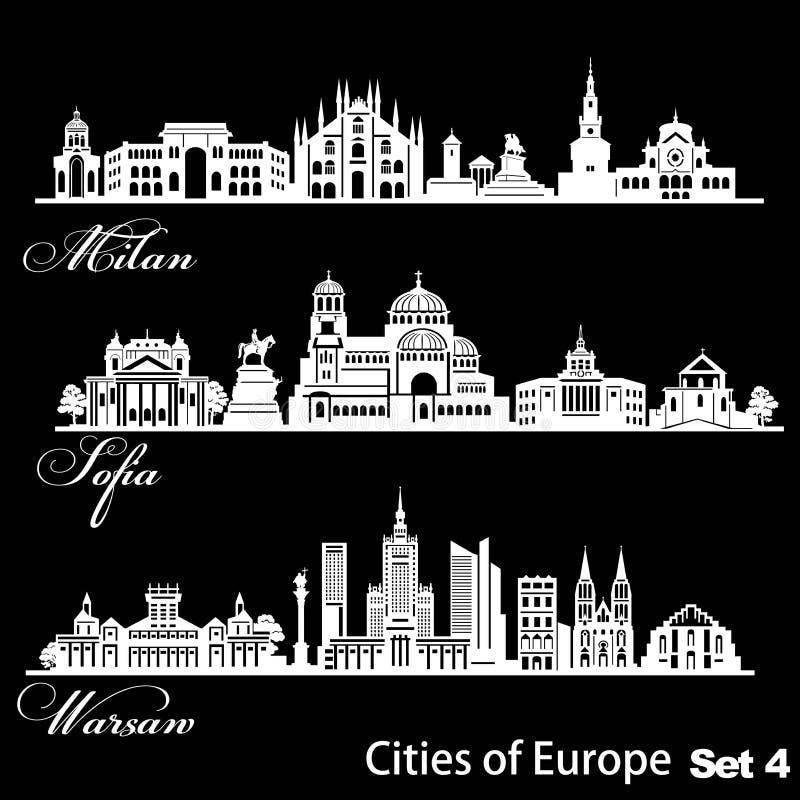 Ville d'Europe - Sofia, Milan, Varsovie Architecture détaillée Illustration vectorielle tendance illustration de vecteur