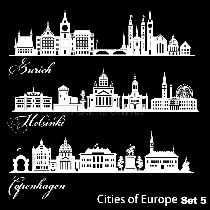 Ville d'Europe - Zurich, Helsinki, Copenhague Architecture détaillée Illustration vectorielle tendance illustration de vecteur