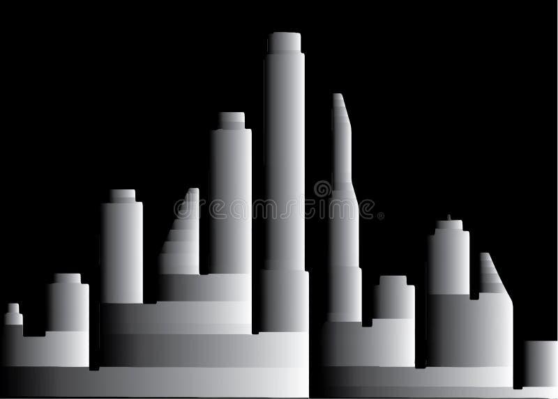 ville 3D grise la nuit illustration libre de droits