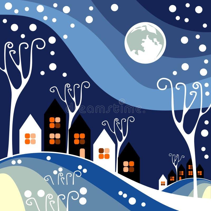 Ville d'hiver de nuit illustration de vecteur