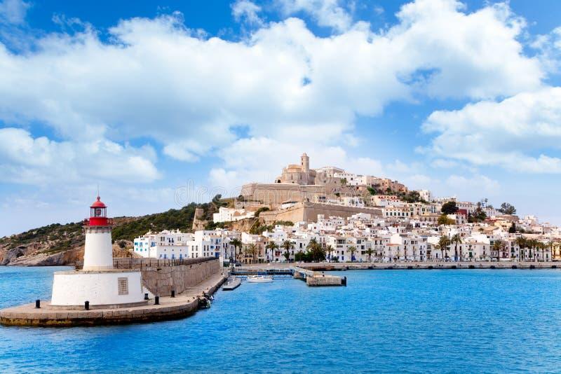 Ville d'ibiza d'Eivissa de radiophare rouge de rouge de phare images libres de droits