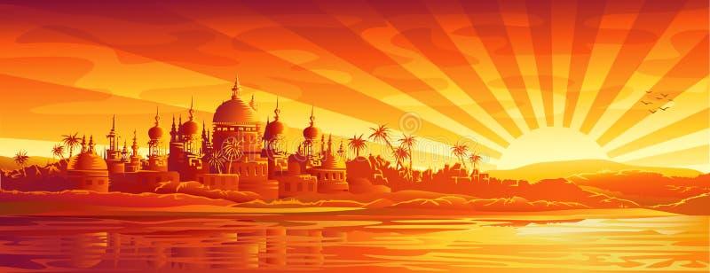 Ville d'or sous le ciel d'or illustration de vecteur