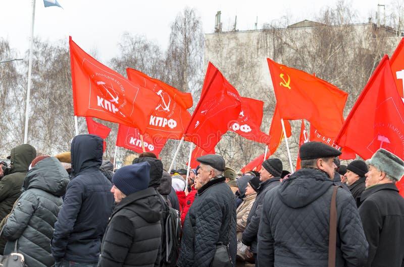 Ville d'Ulyanovsk, Russie, march23, 2019, les gens avec des alertes ? un rassemblement de protestation contre l'injustice sociale image stock