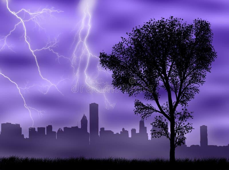 Ville dans la tempête illustration libre de droits