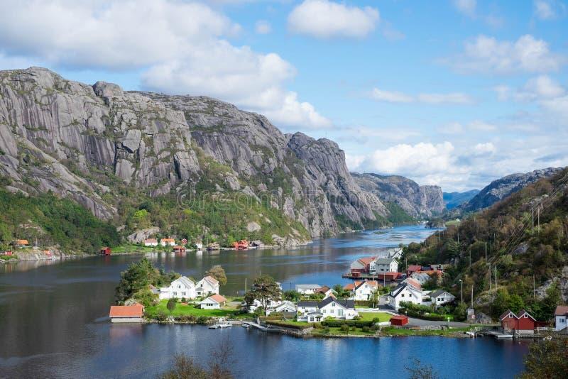 Ville dans les montagnes près de l'eau photographie stock libre de droits