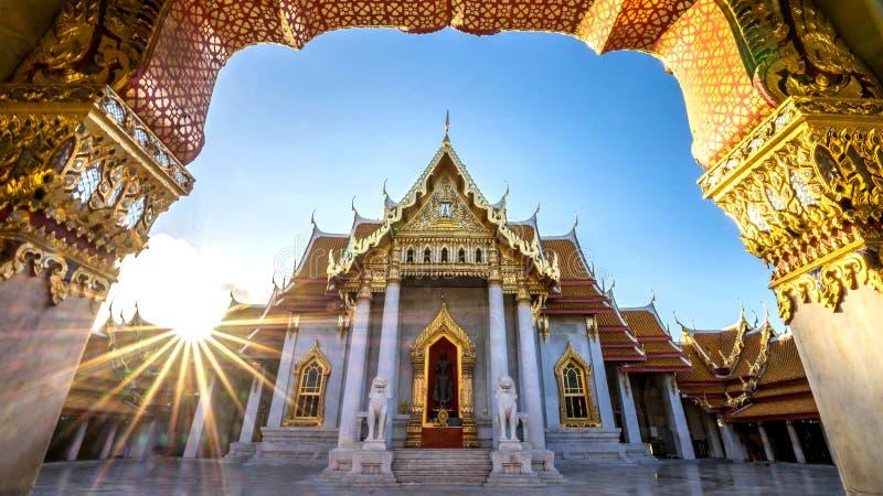 Ville de Bangkok - temple de Benchamabophit photos libres de droits