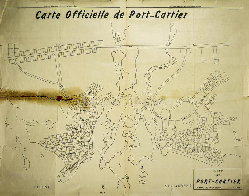 Ville de carte officielle de Port-Cartier en 1962 photos stock