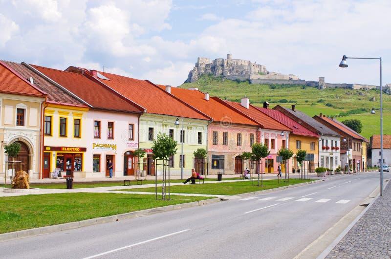 Ville de château et de Spisske Podhradie de Spis, Slovaquie image libre de droits