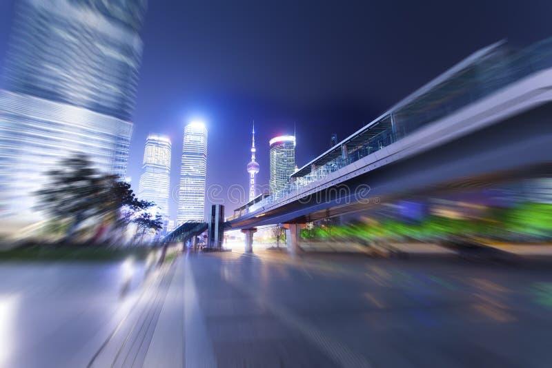 Ville de Changhaï Nuits Pudong images libres de droits