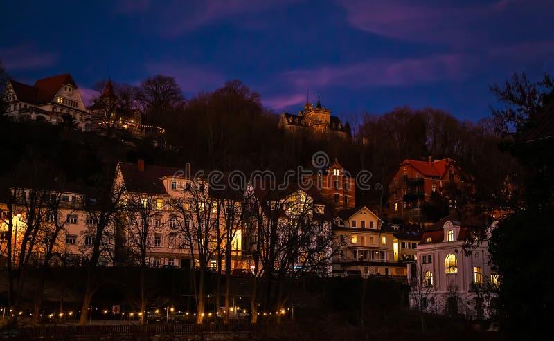 Ville de Constance, Allemagne, le 25 février 2019 Constance avec la lumière de nuit au printemps image stock