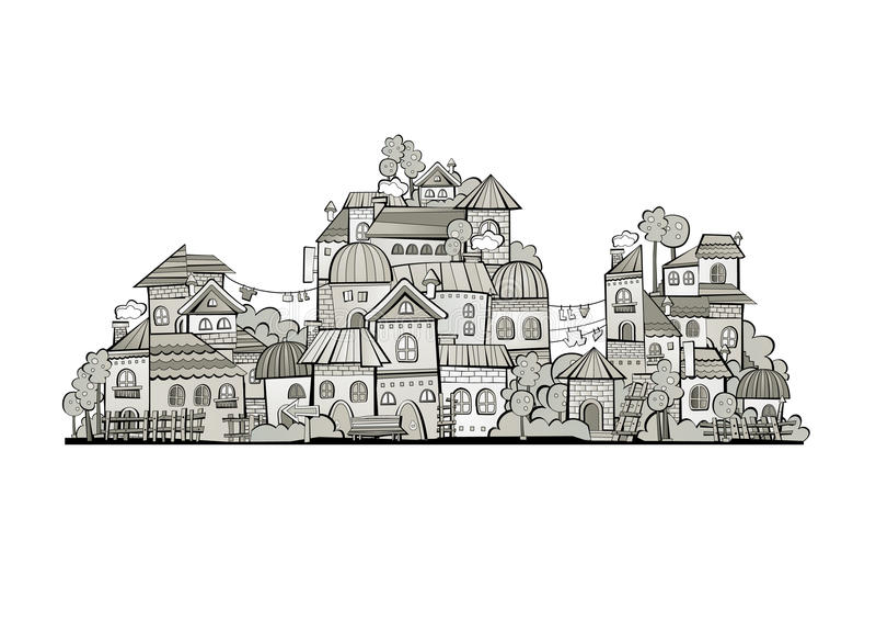 Ville de construction de vecteur de gamme de gris de bande dessinée illustration stock