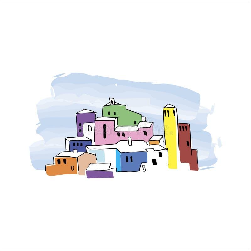 Ville de conte de Cartoon Illustration vectorielle tirée à la main du paysage urbain de couleur vive Isolé sur blanc illustration libre de droits