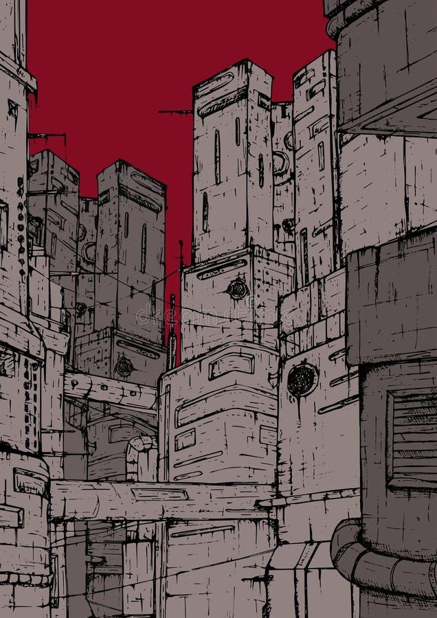 Ville de Cyberpunk Constructions fantastiques Gratte-ciel sur un fond du rouge, ciel de Bourgogne Tiré par la main coloré illustration stock