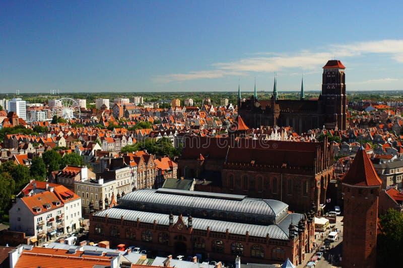 Ville de Danzig dans le panorama de la Pologne photographie stock