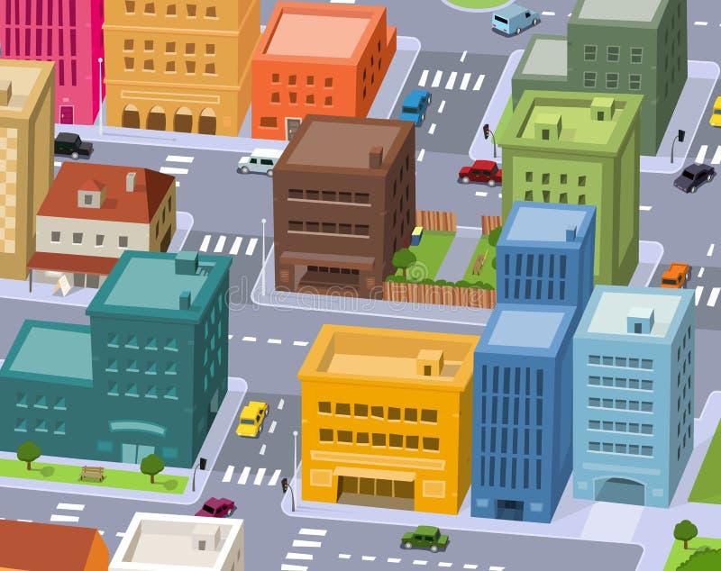 Ville de dessin animé - scène du centre illustration stock