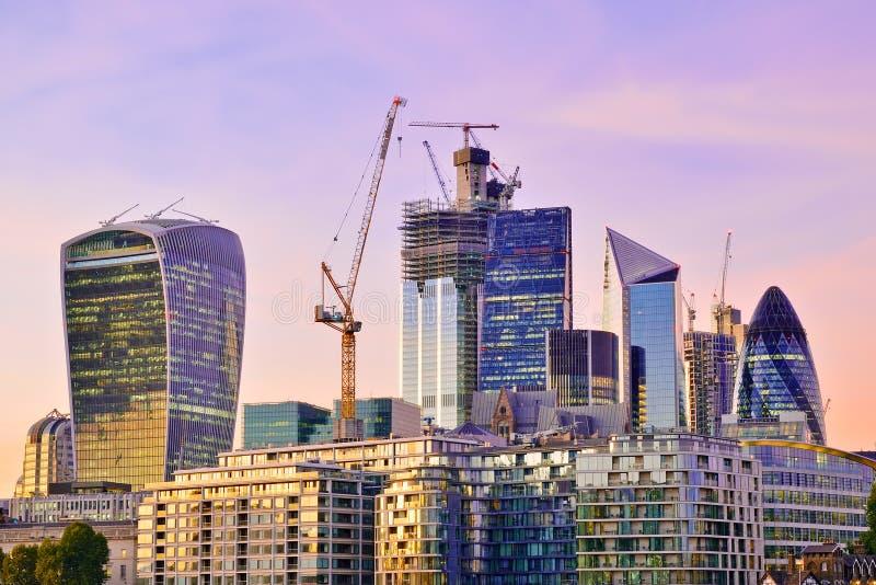 Ville de district financier de Londres photographie stock