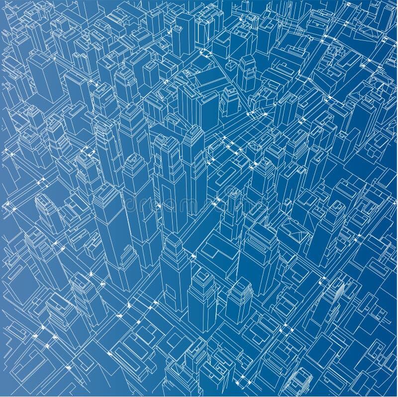 ville de Fil-cadre, style de modèle Vecteur illustration libre de droits