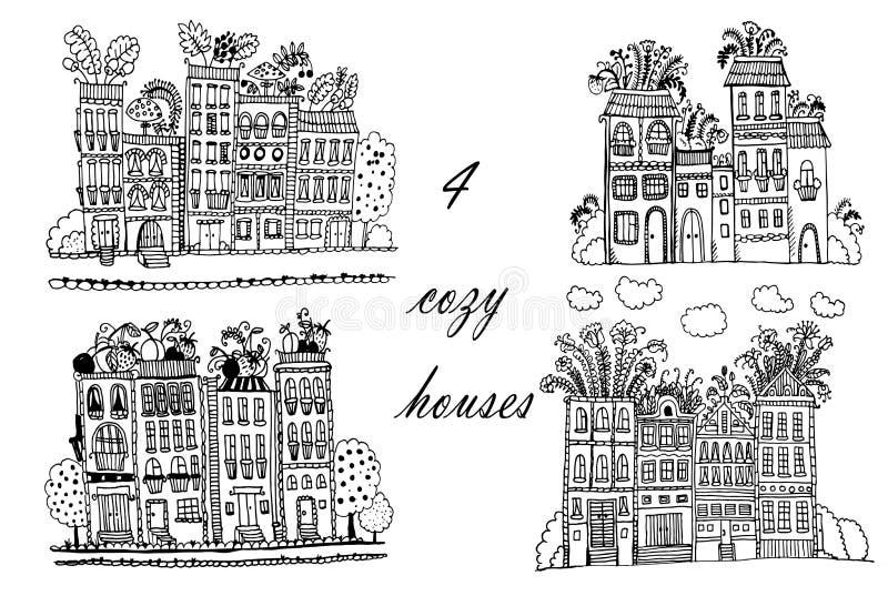 Ville de fleur de dessin, ensemble d'illustrations avec les maisons drôles d'imagination, illustration tirée par la main de griff illustration libre de droits