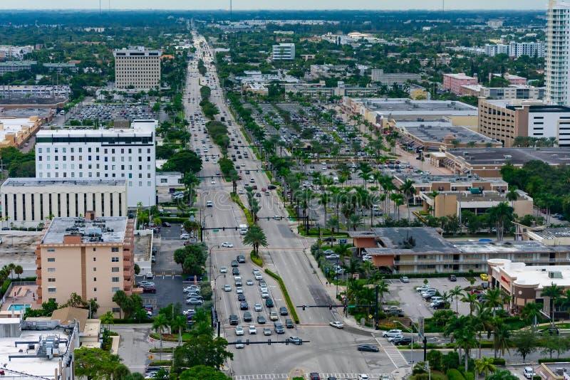 Ville de Hallandale et son boulevard image stock
