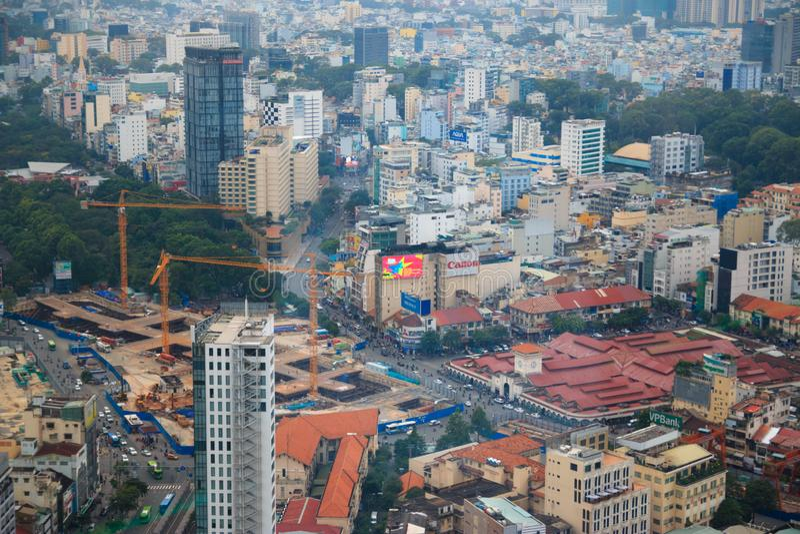 Ville de Ho Chi Minh, Vietnam - décembre 2018 : Vue du marché de Ben Thanh de Skydeck photo libre de droits