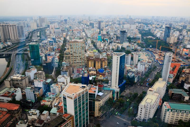Ville de Ho Chi Minh, Vietnam - d?cembre 2018 : la vue de centre de la ville de Skydeck ?? DE ? photo libre de droits
