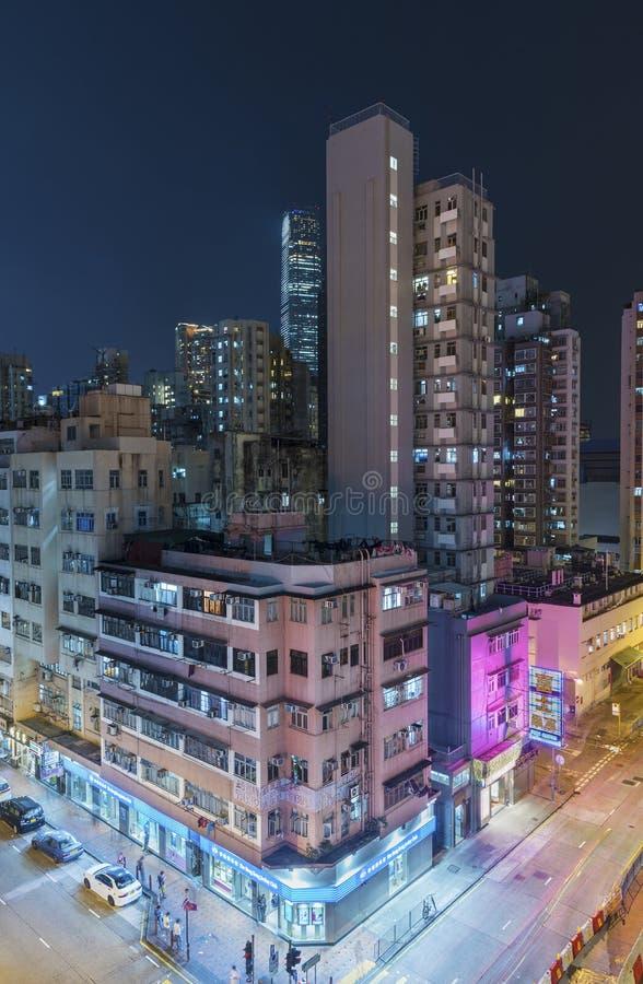 Ville de Hong Kong la nuit photographie stock libre de droits