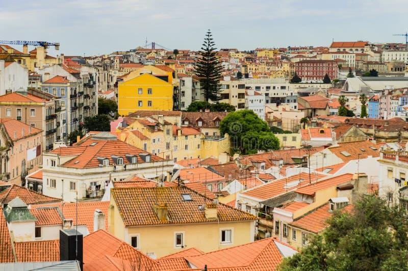 Ville de Lisbonne au Portugal, vue d'en haut images stock