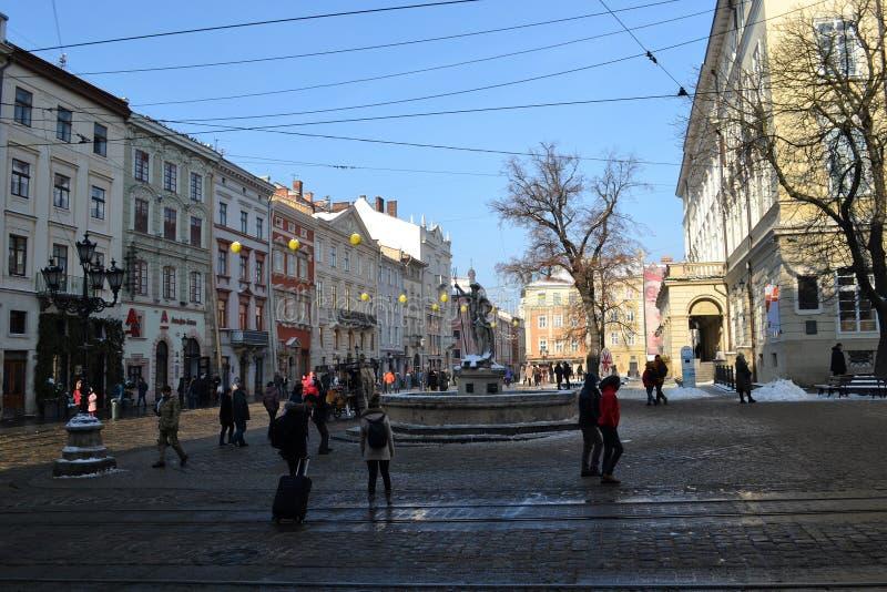 Ville de Lviv Ukraine de place du marché vieille image libre de droits