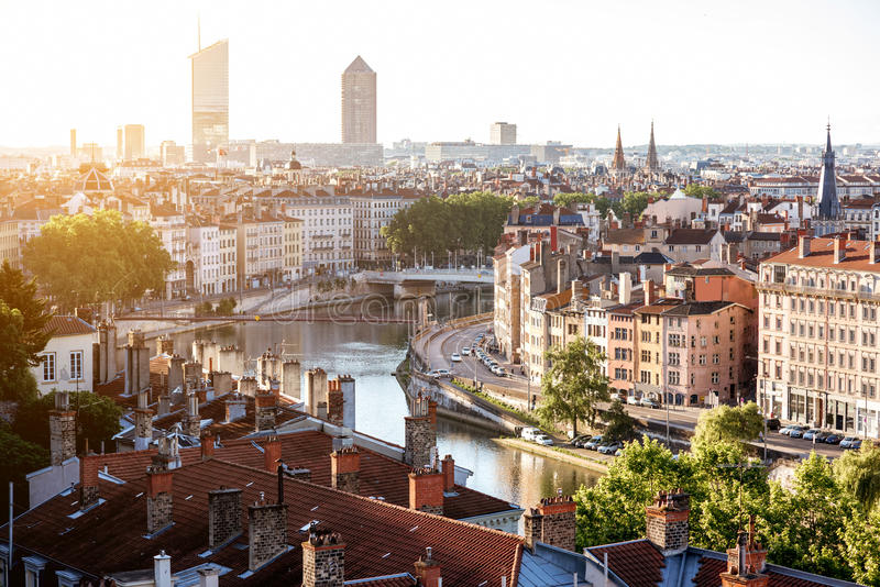 Ville de Lyon dans les Frances photos libres de droits