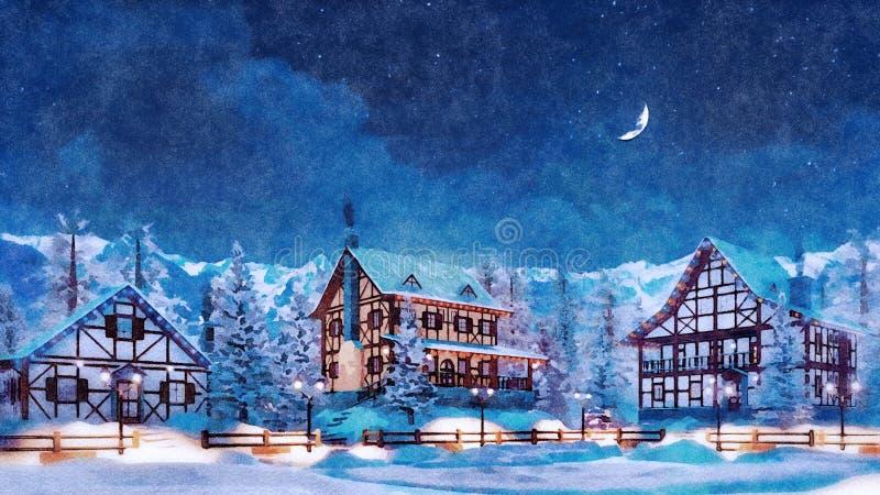 Ville de montagne la nuit neigeux hiver dans l'aquarelle illustration libre de droits