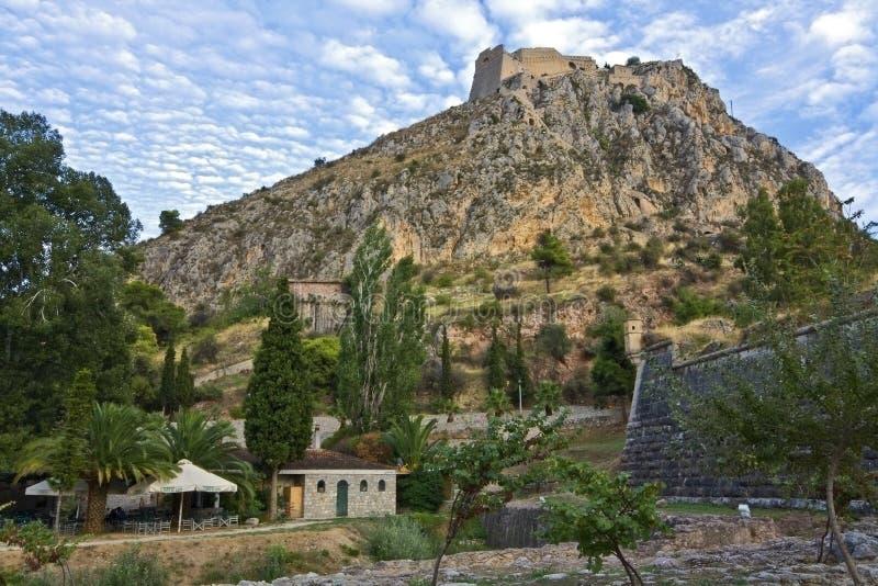 Ville de Nafplio et château de Palamidi chez la Grèce photo libre de droits