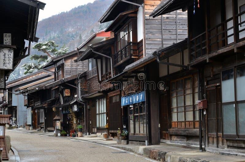 Ville de Narai Juku en hiver images libres de droits