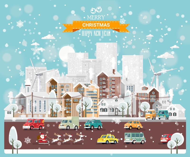 Ville de neige de Noël avec des routes urbaines, des voitures et des maisons mignonnes Calibre de vecteur de bonne année dans la  illustration libre de droits
